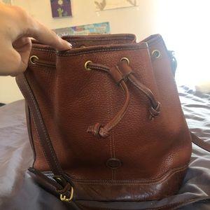 Liz Claiborne brown leather bucket bag